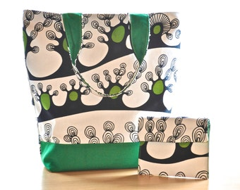 Tote bag shopper bag handbag with matching phone purse clutch Abstract print large