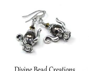 Swarovski Brown Pearl Teapot Surgical Steel Earrings Dangle Casual Fun Gift for Her