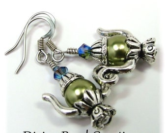 Swarovski Light Green Pearl Teapot Surgical Steel Earrings Dangle Casual Olive Gift for Her