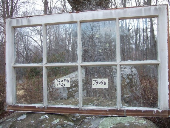 Vintage Window sash old 8 pane 36 x 21-1/2 from 1947 RARE SIZE