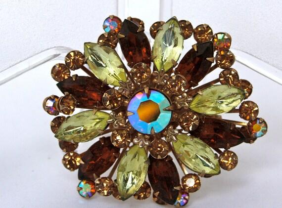 Vintage Brooch - Amber and Topaz Rhinestones - Sparkler Collection