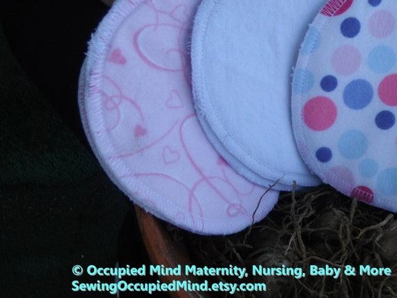 Reduced - was 8.00 - Reusable cloth nursing pads. Cotton flannel, 3 pairs 4 inches diameter - Ready to ship