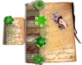 Vintage Writing Journal Set  - Gift Set For Her - Cottage Chic Shabby Chic For Her - Green Brown Lace Pearls  1920s Flappers
