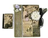 Altered Composition Book Set - Vintage Scrapbook Journal Gift Set Collage Cottage Chic Hollywood Regency (Black / Silver / Cream)