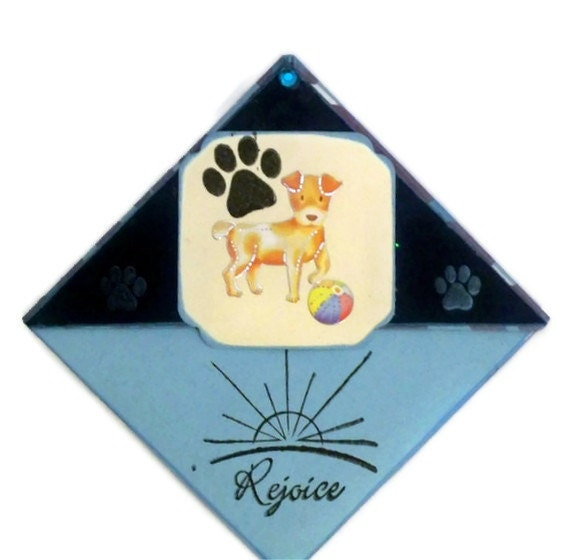 Corner Bookmark:  Rejoice & Joy - A Puppy At Play  - Hand Stamped,  Hand Inked - Handmade (Blue)