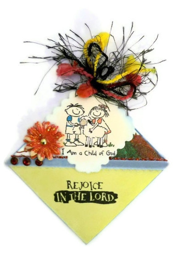 Bookmark Corner: Rejoice- I Am A Child of God Origami Corner Bookmark - Hand Stamped, Hand Painted - Direct Check Out