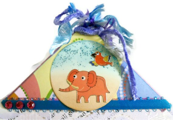 God's Advisors - Elephant & Parrot Corner Bookmark - Hand Stamped, Hand Inked - Handmade (Pink / Blue / Animals)