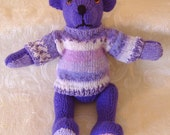 Hand Knitted Teddy Bear in dark lavender yarn . Traditional style 11 inch long with mock fairisle jumper