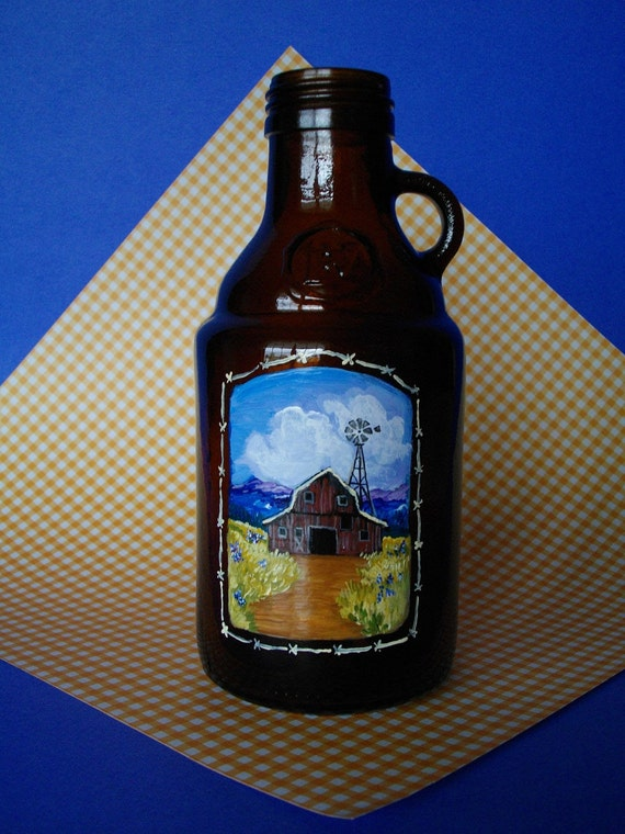 LITTLE BROWN JUG with Bright & Colorful Red Barn Scene