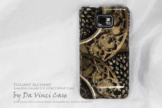 "Samsung Galaxy S II Case - artistic hard plastic WRAP case with steam punk inspired artwork ""Elegant Alchemy"" for Droid Galaxy S 2 - i9100"
