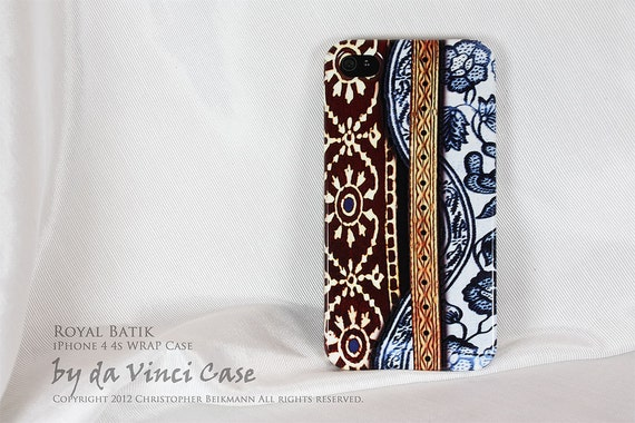 iPhone 4 case - iPhone 4s case - art WRAP iPhone case - Royal Batik - original artwork