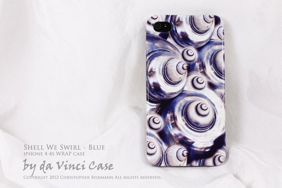 "blue shell art iPhone 4 case - iPhone 4s case - ""Shell We Swirl"" - abstract ocean seashell art WRAP case - blue and white"