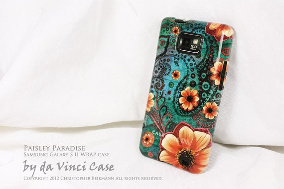 """Paisley Samsung Galaxy S II Case - hard plastic WRAP case with teal green paisley artwork """"Paisley Paradise"""" for Droid Galaxy S 2 - i9100"""