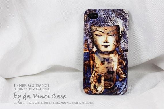 Buddha iPhone 4 case - iPhone 4s case - art WRAP iPhone case - Inner Guidance - original Zen, Buddhist, Yoga art