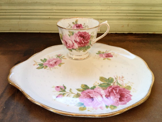 Vintage Royal Albert American Beauty Snack Plate and Cup Set