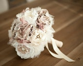 Fabric Flower Bouquet-Custom Wedding Bouquet.  Champagne, Dusty Rose Ivory with pearls, lace, vintage jewelry, rhinestones