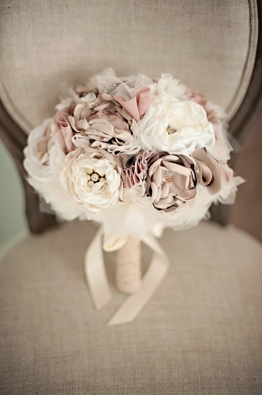 Fabric Flower Bouquet Custom Wedding Bouquet Champagne