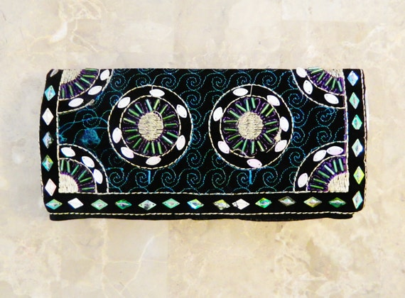 Hand Stitched Embroidered Beaded Colorful Boho Ladies Wallet Coin Bag with Wrist Handle