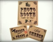 Photo Booth Prop my ORIGINAL Ornamental Design- KRAFT Simple Single Sheet Photo Booth Sign/Say Cheese/ Choose Your Props Sign- Set of 3