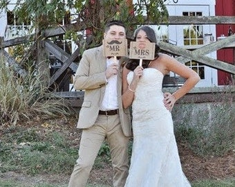 my ORIGINAL-The Mr/The Mrs- Mustache/ Lips- Thank You Double Sided Wedding Photo Props Signs on Kraft Paper-Set of 2