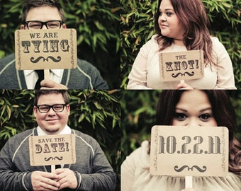 my ORIGINAL Tying The Knot / Save The Date Double Sided Wedding Photo Props on Kraft Paper- Set of 2