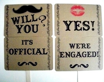 my ORIGINAL Mustache/ Lips-Will You/ YES-It's Official/ We're Engaged- Dbl Sided Engagement/Wedding Photo Prop Signs on Kraft- Set of 2
