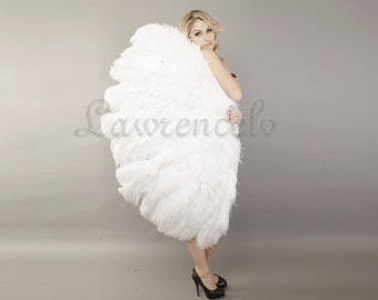 """Burlesque Dance white 3 Layer Ostrich Feather Fan Opened 65"""" with giftbox"""