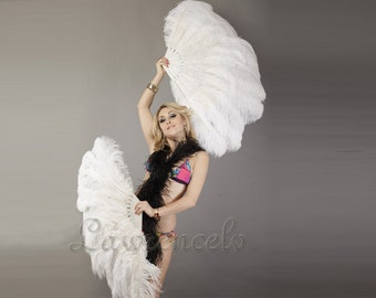 "Burlesque dance burlesque feather fans White  2-layer Ostrich Feather Fan 30"" x 54"""