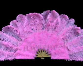 """27""""x 53"""" Pink Marabou & Ostrich Feathers Hand Fan With Bamboo Staves Burlesque Dance"""