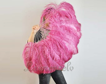 """Palevioletred single layer Ostrich Feather Fan Burlesque Dance costume 25""""x45"""""""
