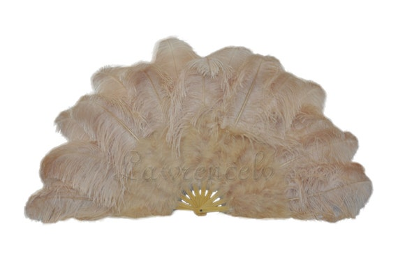 "27""x 53"" Light Camel Marabou & Ostrich Feathers Hand Fan With Bamboo Staves Burlesque Dance"
