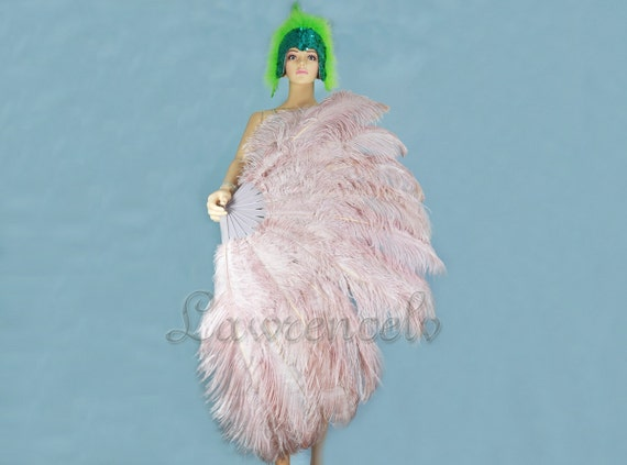 "Burlesque Dance Burly wood  2-layer Ostrich Feather Fan 30"" x 54"" with gift box"