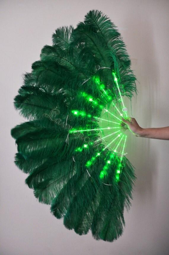 Burlesque Dance Green Glittery LED Shine Bushy Double Ostrich Feather Fans Burlesque
