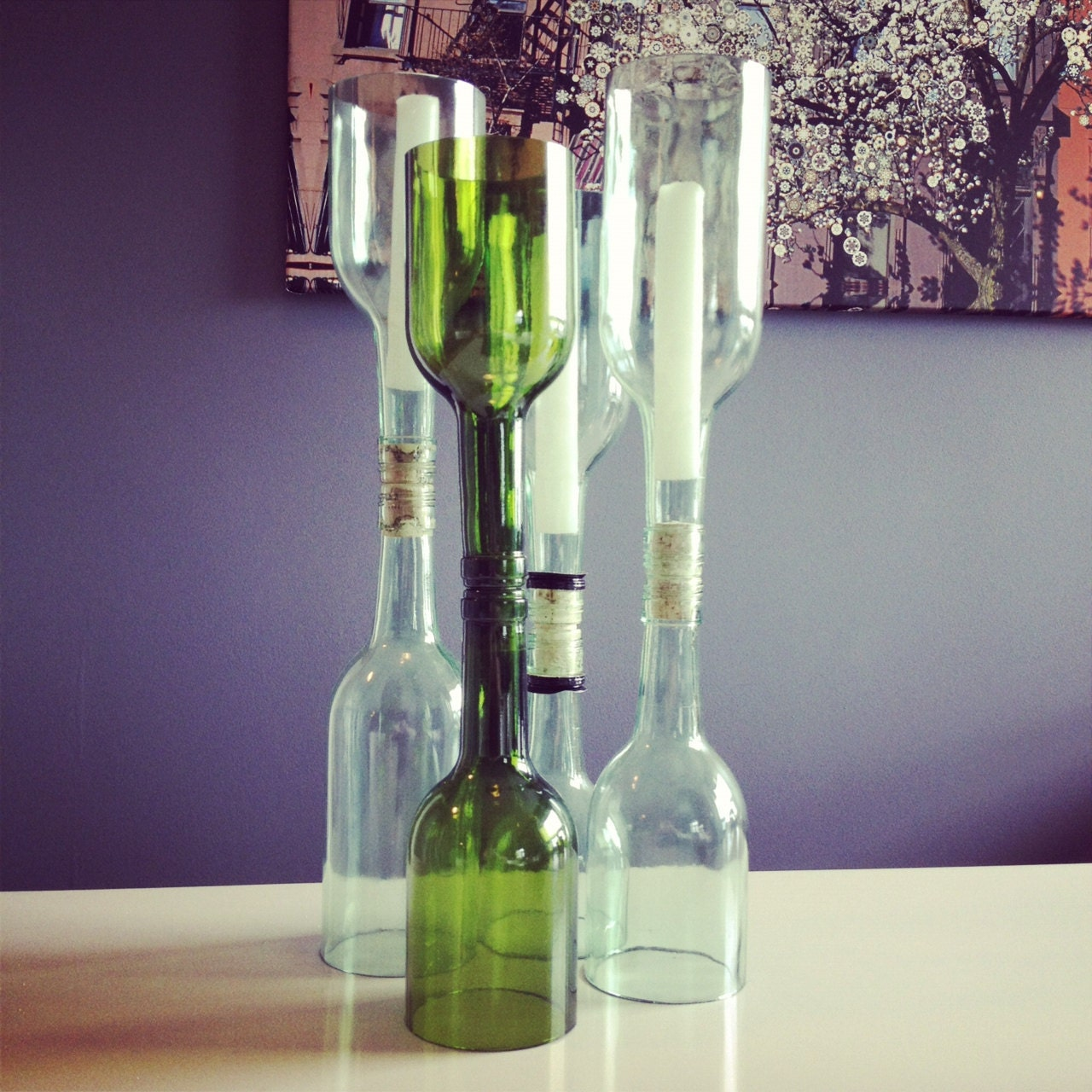 Recycled glass wine bottle candle holder for How to make candle holders out of wine bottles