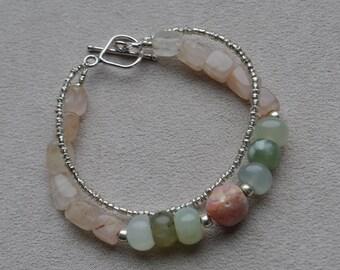 Pink Opal Rose Quartz and Green Jade Bracelet