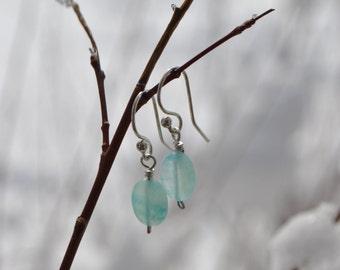 Ocean Blue Polished Hemimorphite Oval Earrings