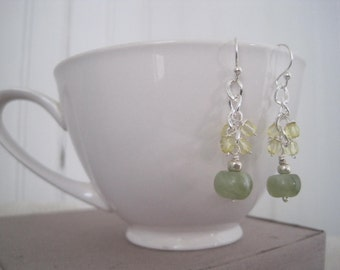 Green Jade and Citrine Earrings on Silver earwires