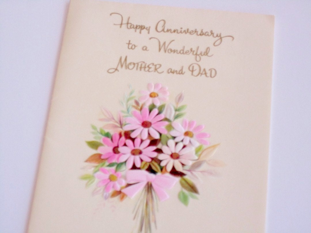 30th Wedding Anniversary Gifts For Mum And Dad: Vintage Anniversary Card For MOM & DAD Unused Greeting Card
