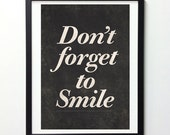 """Motivational Quote Print """"Don't Forget To Smile"""" Inspirational Print, Typography Poster, Black and White Art, Quote Art, Motivational Poster"""