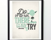 """Star Wars Quote Poster """"Do or Do Not There Is No Try"""" Vintage Style Typography Print, Inspirational Print, Movie Quote Print, Movie Poster"""