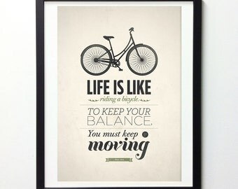 Rustic Home Decor, Life Is Like Riding A Bicycle, Life Quotes Art, Giclee Print, Western Decor, Printed Poster, Albert Einstein Quote Art