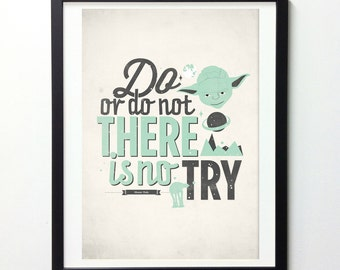 Star Wars Poster, Do or Do Not There Is No Try, Star Wars Art, Yoda Print, Poster Star Wars, Movie Quotes, Quote Prints, Movie Wall Art