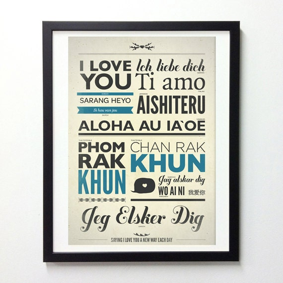 I Love You In Different Language, unique engagement Gift, Vintage Signs, Typography Poster, Love Sign, Typography Wall Art, Giclee Print