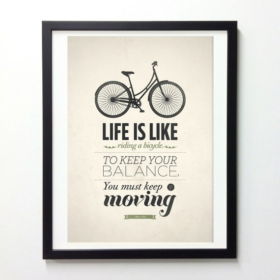 "Life Quote Typography Poster ""Life Is Like Riding A Bicycle""  Typography Wall Art, Insirational Print, Quote Posters, Giclee Print"