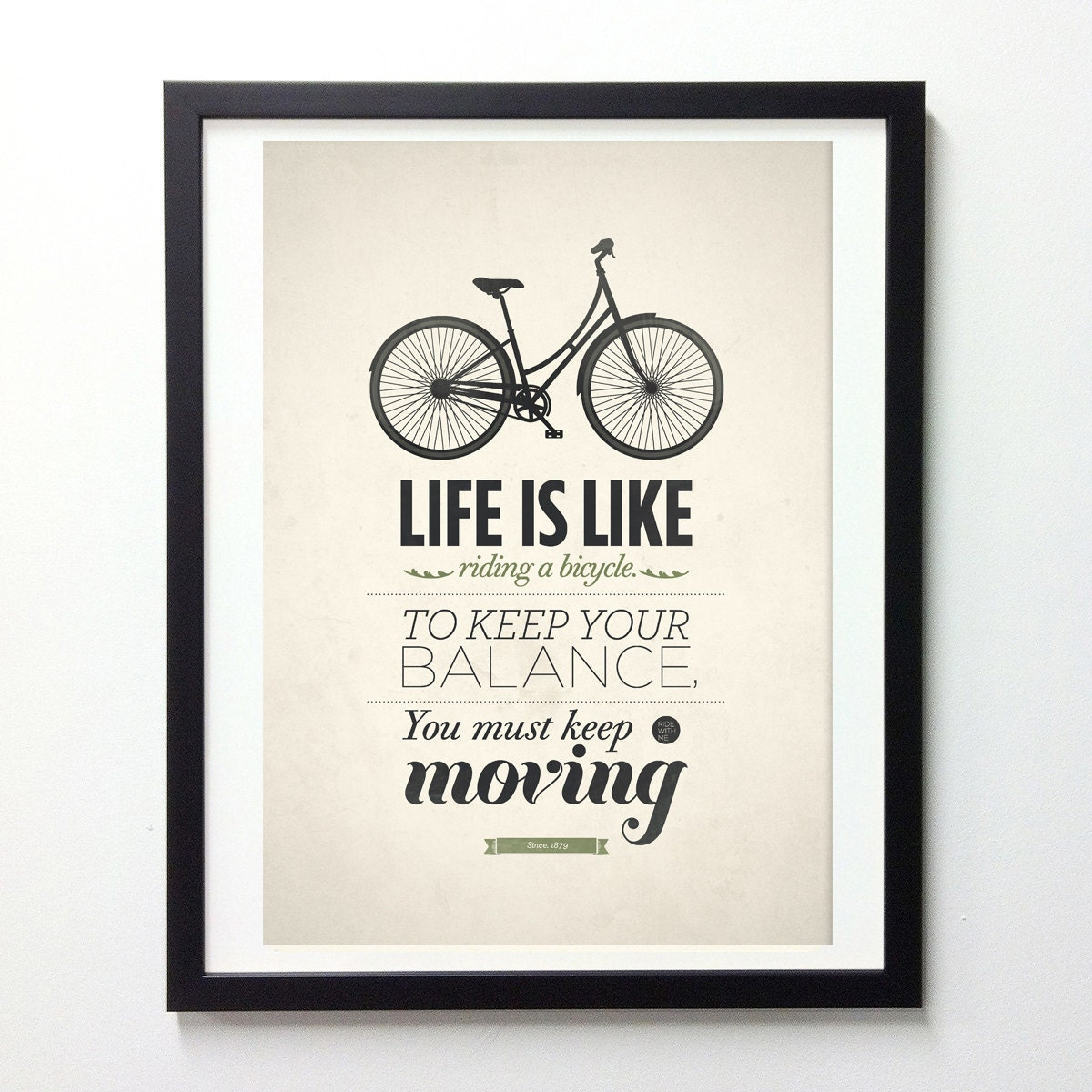 Bike Quotes: Rustic Home Decor Life Is Like Riding A Bicycle By NeueGraphic