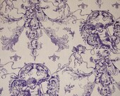 Purple Cupids Frolic on Ivory Fabric, Piece  - DESTASH