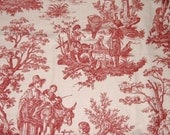 All Cotton, Heavy Weight Piece - Red & Cream Country Life - 28 Inches x 54 Inches - DESTASH
