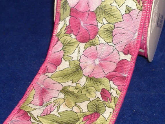 RESERVED fro KELLY Hot Pink Petunias Wire Edged Fabric Ribbon - Destash