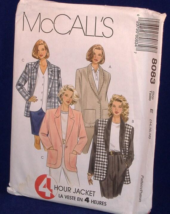 McCalls Misses Lined or Unlined Jacket, 4 Hour Jacket - No. 8083 - 1996 Pattern - Uncut