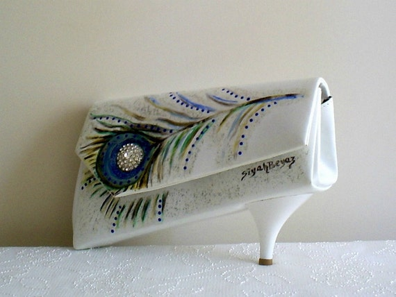 PEACOCK FEATHER vegan leather evening bag ,Shoe clutch ,hand painted OOAK